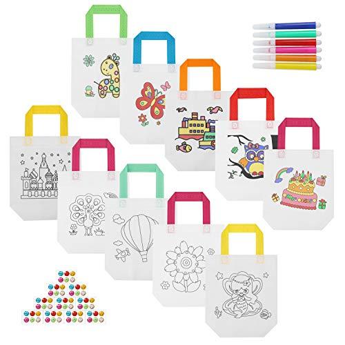 Hifot Bolsas para Colorear Fiesta Bolsas de cumpleaños Infantil 10 Piezas, Regalo Bolsas para Pintar niños - 24.5 x 22cm, 6 Color metálicos, Diamantes Pegatinas
