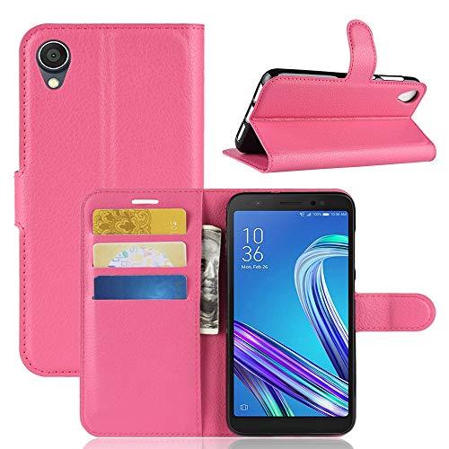 Handytaschen Litchi Texture Horizontal Flip Leder Tasche for Asus ZenFone Live (L1) ZA550KL, mit Geldbörse & Kartenhalter (Schwarz) (Farbe : Magenta)