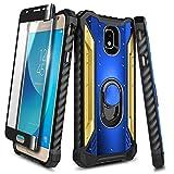 NZND Case for Samsung Galaxy J7 2018 Case, J7 Star/J7 Crown/J7 Refine/J7 TOP/J7 V 2nd Gen/J7 Aura/J7 Aero with Tempered Glass Screen Protector, Built-in Ring Holder, Full-Body Protective -Blue/Gold