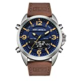 Mens Watch Analogue Digital 5 ATM Waterproof Leather Wrist Watches for Men Casual Business Big Face Dial with Calendar 50mm
