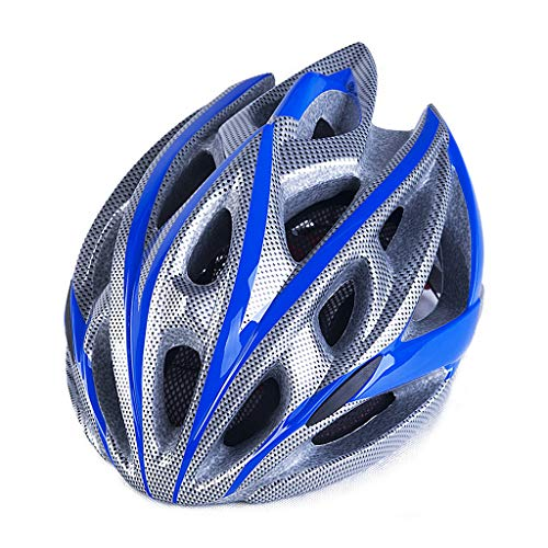 Casco De Ciclista, Bicicletas Cascos Mate Negro Unisex Casco De La Bici Luz De Fondo Carretera De Montaña Moldeada Integralmente Transpirable Camino MTB Casco Ultraligero,Blue Silver