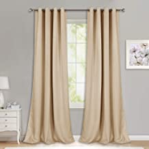 NICETOWN Room Darkening Grommet Panels - (52 inches Width, Biscotti Beige, 1 Pair) Baby Room Curtains 108 inches Long, Privacy Draperies