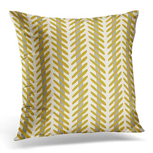 Jhonangel Throw Pillow Cover Yellow Chic Abstract Herringbone Pattern Mostaza y Gris Beige Zigzag Funda de Almohada Decorativa Decoración para el hogar Funda de Almohada Cuadrada 18x18 Pulgadas