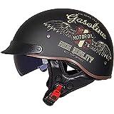 Casco Semiabierto para Motocicleta,Con Protección Anticolisión,Estilo Retro Casco Semiabierto,Unisex,Homologado DOT/ECE L,XL=59~60CM