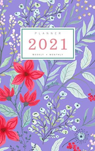 Planner 2021 Weekly Monthly: 5x8 Full Year Notebook Organizer Small | 12 Months - Jan to Dec 2021 | Calmly Garden Flower Design Blue-Violet