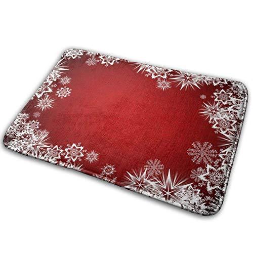 GOSMAO Felpudo de Entrada Alfombra Exterior para Puerta Impermeable Lavable Antideslizante Copos de Nieve de Navidad 40X60cm