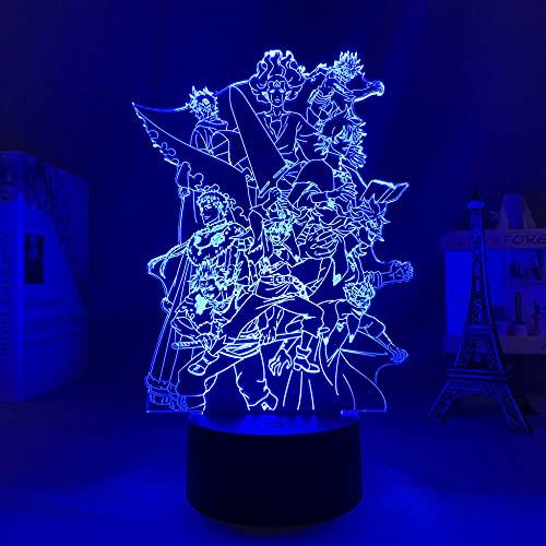 Lámpara De Ilusión 3D Luz De Noche LED anime, trébol negro, papel tapiz de grupo para decoración de habitación de niños, regalo de cumpleaños, dormitorio, oficina, javel nel you Es un regalo