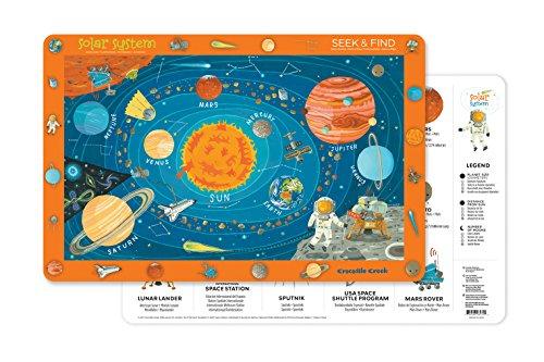 Crocodile Creek- Solar System 2-Sided Set de Table, 2827-4, Blue/Orange/Red/Yellow