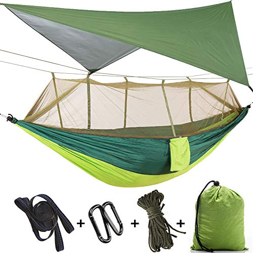 MIFXIN Camping Hammock with Mosquito Net & Rainfly Tent Tarp & Tree Straps Portable Lightweight Double Tree Nylon Hammock Tent for Camping Hiking Backyard Travel Outdoor Backpacking