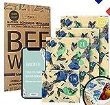 Verébio 4 Bee Wrap Made in France M,L,XXL (1 Offert), Emballage Alimentaire Réutilisable à la Cire d'abeille + Ebook, Cire 100% Naturelle, Bio, Ecologique   Kit Zero Dechet   Soutenez Une Association