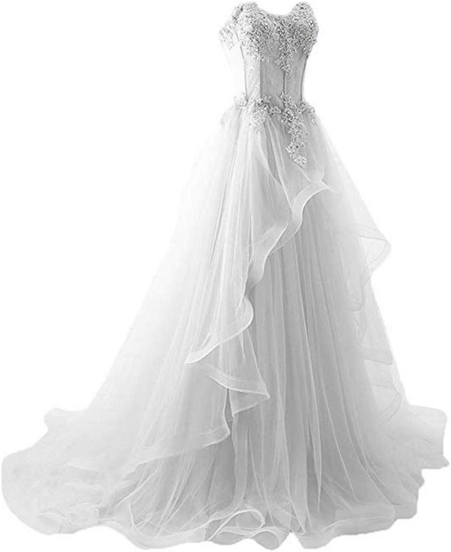 Haixiangdress Women's Sexy Applique Sweetheart Sheer Waist Fishbone Symmetrical Strapless Bridal Evening Party Dress