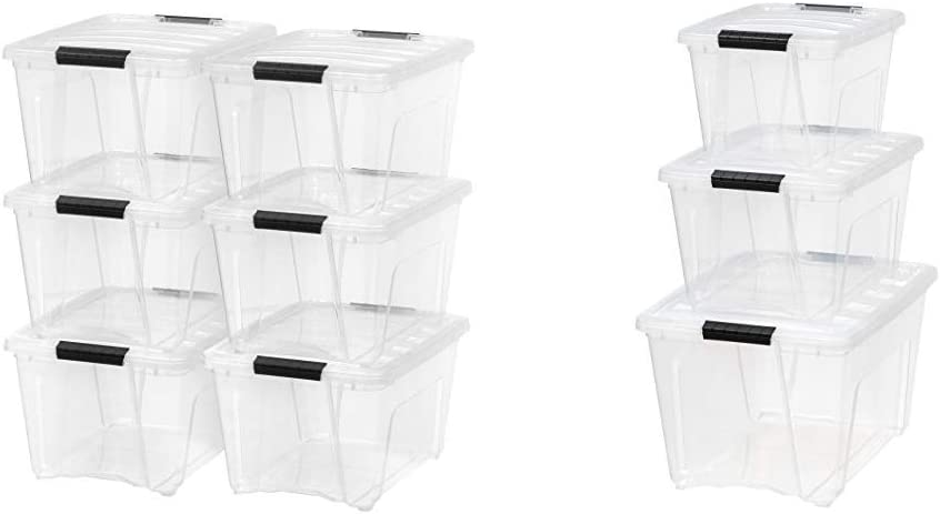 Outlet SALE IRIS USA Inc. Brand new TB-28 Stack Pull Box Quart Clear 6 Pac 31.75