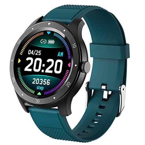 ASDF Oxígeno Presión Inteligente Reloj ECG De Ritmo Cardíaco Sangre Podómetro Música Información Recordatorio Impermeable Pantalla Táctil Batería De Larga Duración (Color : Green)