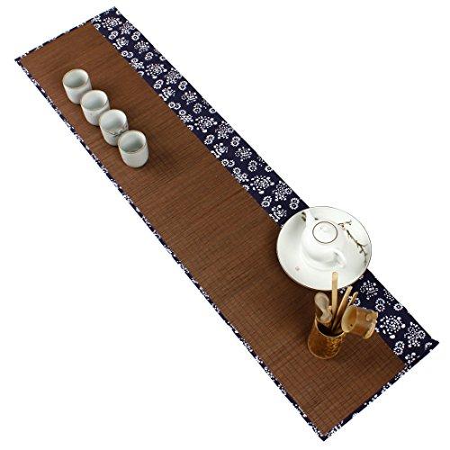 Hollihi Sets de table pour cérémonie du thé en bambou, faits à la main,décoration d'intérieur, kungfu, chemin de table, 30,5 cm par 119,4 cm, Carbonize, 30 x 120cm