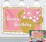 Cartoon Pink Mouse Backdrop Pink Gold Polka Dots Princess Girl Photography Background Baby Shower Birthday Celebration Party Decoration Supplies Photo Booth 7x5ft