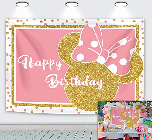 LXN Fondo de dibujos animados de Minnie Rosa Fondo de Brillo Dorado Princesa Niñas Feliz Cumpleaños Mickey Mouse Fondo 6x4ft