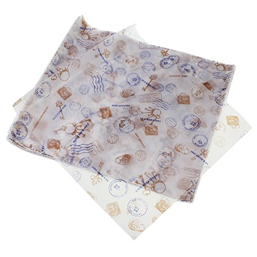 Envoltorio de papel encerado antiadherente PsmGoods®, para pasteles o pan, 100 unidades, Key Type