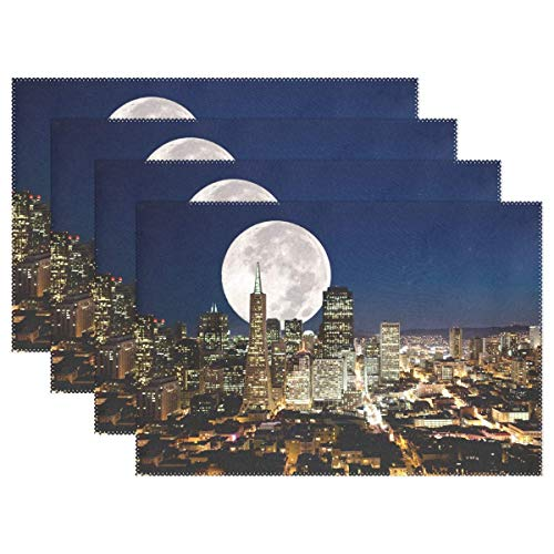 Reredith Juego de manteles Individuales de 6, Luna Llena sobre una metrópoli Urbana Mesa de Vacaciones Manteles Individuales