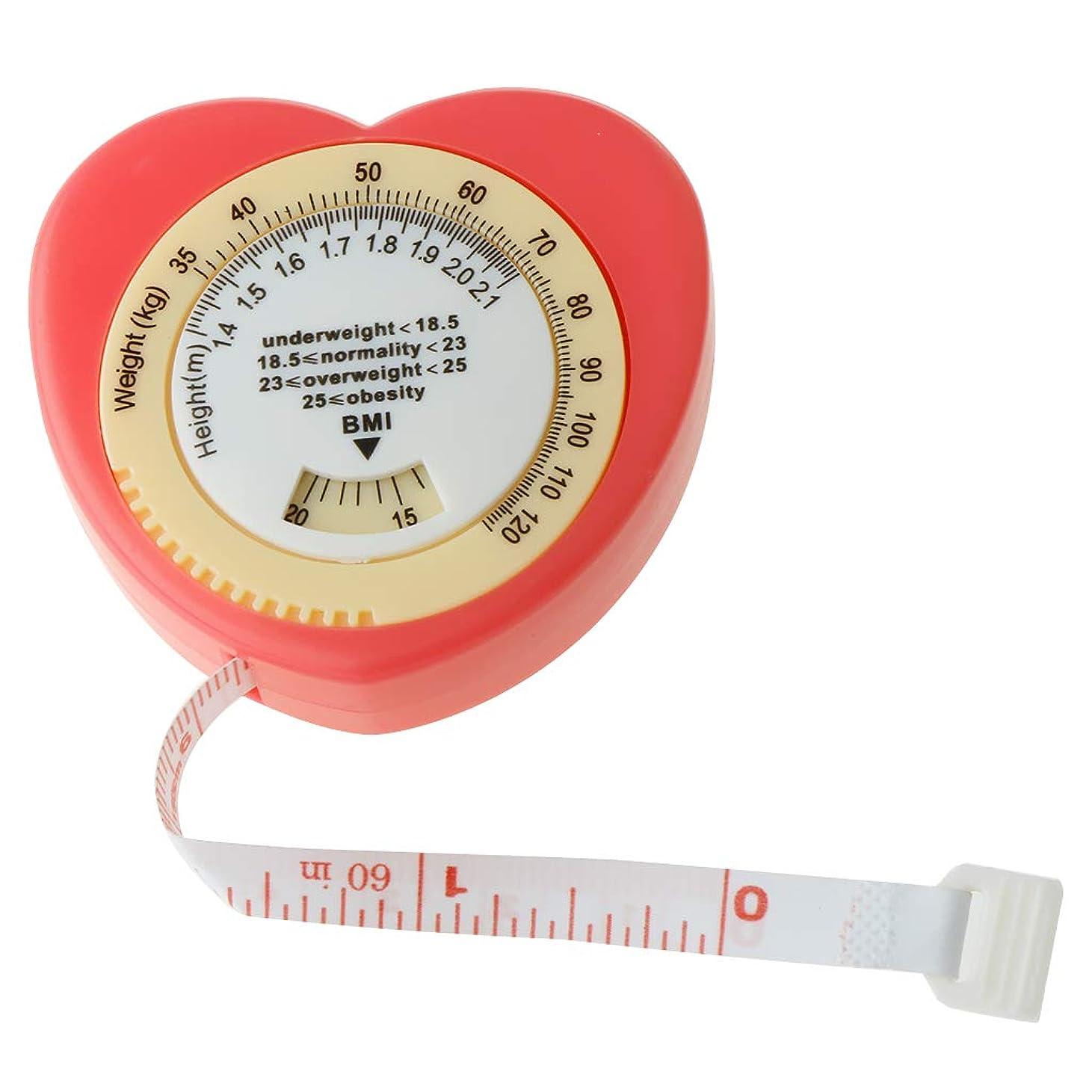 愚かな量でルーチンPETSOLA ピンク 引き込み式 BMI 巻尺 巻き尺 体定規 計算ダイヤル付き ダイエット 体重を監視 体の肥満を評価