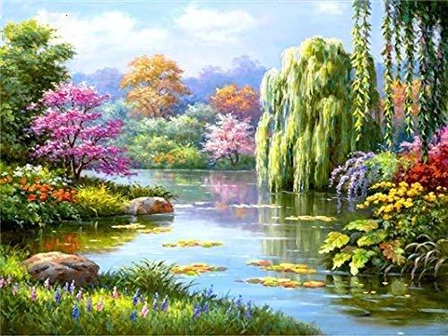 Pintura de diamante punto de cruz paisaje completo bordado de diamantes redondos lago árbol kits de imágenes de cuentas arte decoración del hogar A1 30x40cm