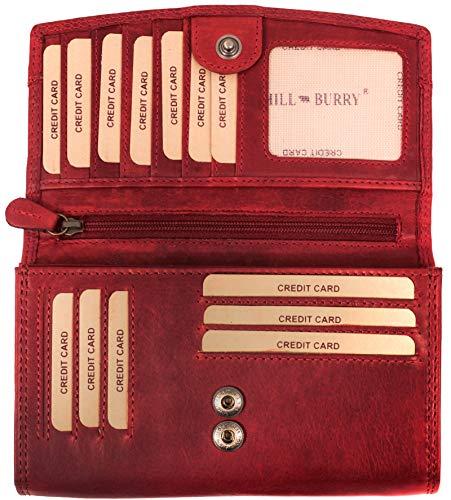 Hill Burry hochwertige Leder Geldbörse | echtes Vintage Leder - XXL Langes Portemonnaie - Kreditkartenetui | Damen - Herren Geldbeutel - RFID Schutz (Rot)