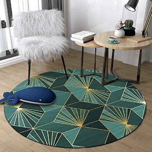 WJW-DT Tapis de Tapis Rond Or Vert pour Salon Chambre couloirs Style géométrique diamètre 80100120140160180200 cm-120cm