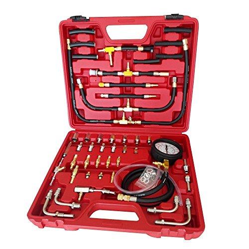 SHIOUCY 0-140PSI Kraftstoffdruckmesser Benzindruck Tester Druckprüfer Einspritzanlage Kompression Prüfer Werkzeu für Auto, LKW
