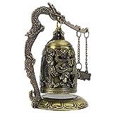 HERCHR Campana de dragón Vintage, Campana de Bloqueo de dragón Tallada en Bronce, pequeña Campana de dragón Feng Shui, decoración de Escritorio, coleccionables