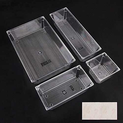 organizer per cassetti Scatole Stoccaggio Set di 4 Organizer Cassetto Plastic Portaoggetti da Scrivania Cassetto Organizer per Ufficio Scrivania Cosmetici Cucina Chiaro per trucco, gioielli, utensili