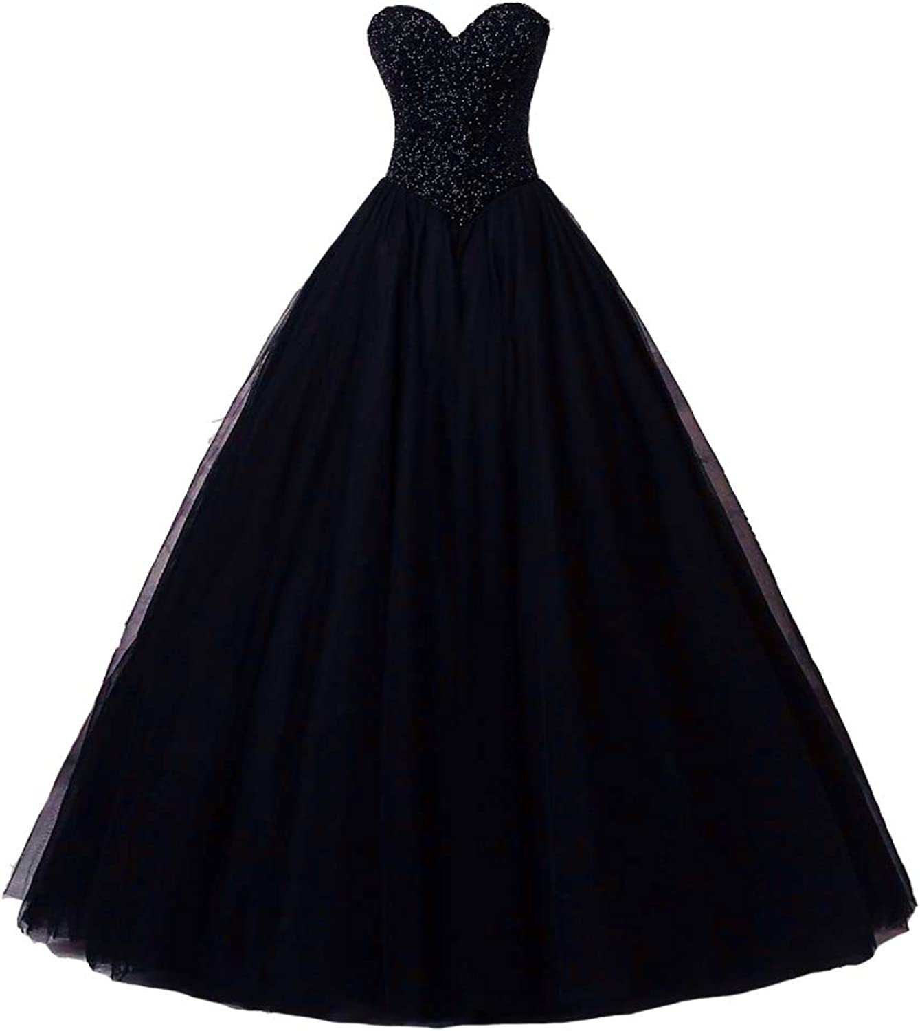 Kivary Heavy Beaded Top Quinceanera Ball Gown Long Tulle Evening Prom Dresses
