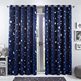 Dreamscene Galaxy Thermal Blackout Curtains Pair of Eyelet Ring Top Ready Made Panels Kids Metallic, Navy Blue Moon Stars, Width 46 Inch x Drop 54 Inch