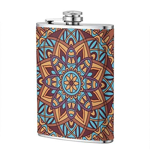 XBYC Trinkflaschen für Alkohol, Oriental Seamless Pattern. Farbige quadratische arabische, indische, amerikanische, marokkanische 8 Unzen Edelstahl-Flachmann für Alkohol für Männer