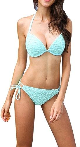 Maillot de Bain Bikini, Cravate Suspendue à la Poitrine pour Tissu Sexy en Dentelle Verte pour Femmes et Filles