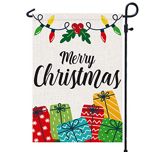 PAMBO Merry Christmas Garden Flags 12x18 Double Sided Burlap - Christmas Lights & Gifts Garden Flag for Outside Decoration