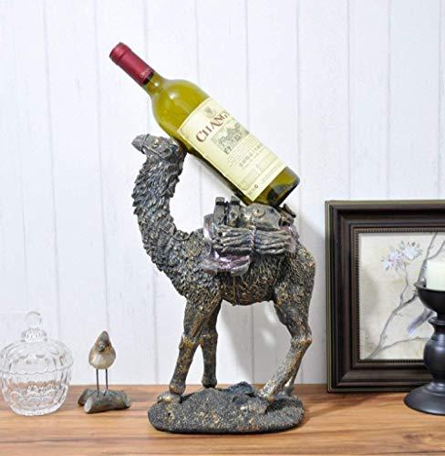 ZJN-JN Estatuas Figura, Figuras, estatuas, estatua, figurilla, escultura, escultura del camello d estante del vino ornamental de resina botella de vino rojo Soporte for Bar Craft for el hogar decoraci