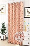 Stuffique Jacquard Candy Polyester Home & Living Room Eyelet Window Leaves Single Curtain