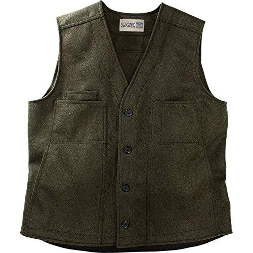 Stormy Kromer Button Vest - Cold Weather Mens Wool Vest Olive
