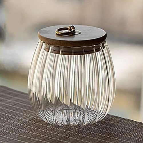 POMNGYUIL Contenedores de almacenamiento de alimentos,con tapa de madera contenedor sellado,Botella de vidrio transparente,Caja de almacenamiento portátil de nueces secas