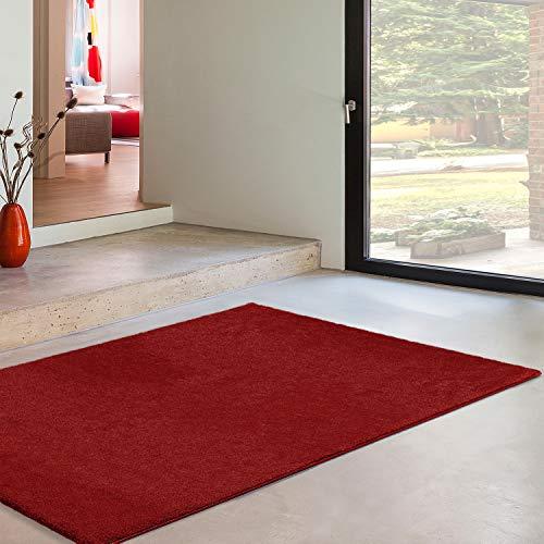 Universal Alfombra Pelo Corto Velur Liso, 100% Polipropileno, Rojo, 60 x 250 cm, 63337
