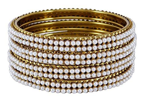 Banithani Goldtone ethnischen traditionellen 4 Set Pcs Kada Armbänder indischer Armreif Schmuck 2 * 4