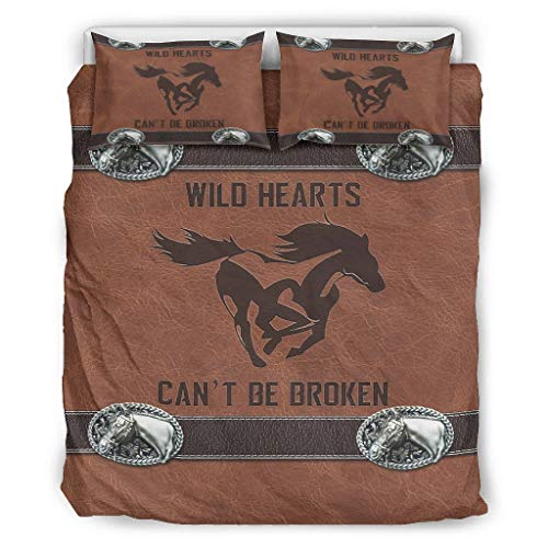 Comforter Bed Set Leather Horse Horse Wild Hearts Can't be Broken Graceful Bedding 3 Piece Comforter Set for Girls & Boys Bedroom Twin or Queen or King White 104x90 inch