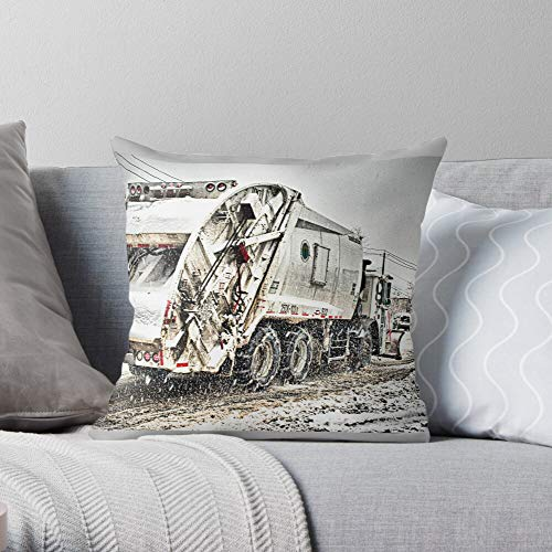 Dsny Truck New Island Winter Nydos Staten Sanitation Snow Strongest NYC York Garbage - Modern Decorative & LightweightSoft Cotton Polyester Throw Pillow Cases for Bedroom/Living Room/Sofa Chair & C