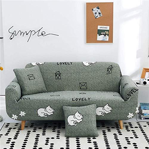ZHBH Funda elástica para sofá de tela elástica con patrón de oso blanco y estampado de sofá de color verde, funda protectora de muebles, 1 funda de almohada (2 plazas)