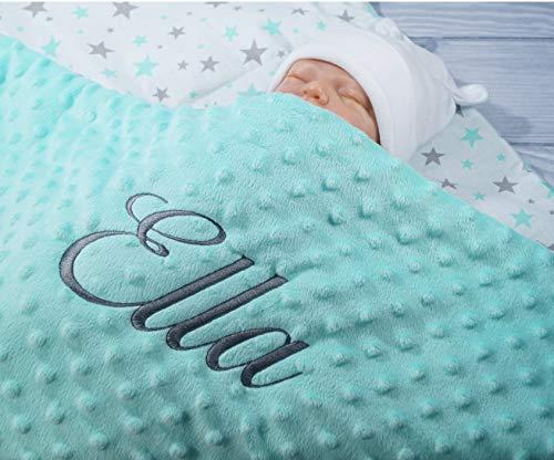 ★ Babydecke mit Namen und Datum bestickt ★ MINKY ★ Baumwolle ★ Füllung ★ (Minze - Minze Sternen)