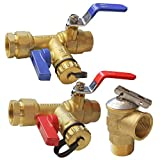 Hourleey 3/4 Inch IPS Isolator Tankless Water Heater Service Valve Kit, with Pressure Relief Valve, Clean Brass