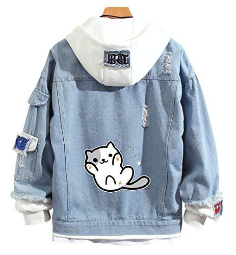 RuihaiTra Sudadera con capucha y capucha para adultos, diseño de gato anime