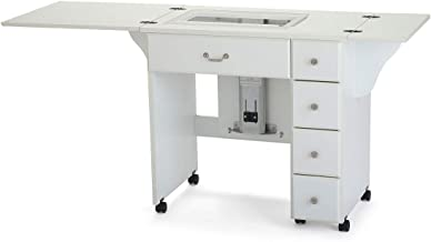Arrow 901 Auntie Sewing, Cutting, Quilting, and Crafting Portable Sewing Table with Wheels and Airlift, White Finish