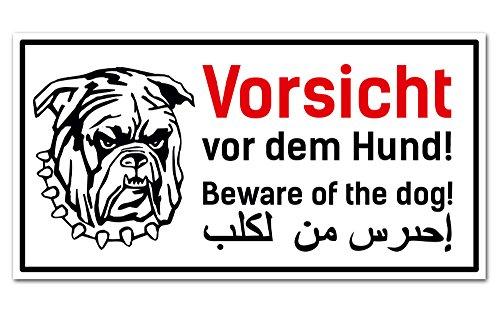 PrimeStick Vorsicht Hund Schild 3-sprachig | Deutsch | Englisch | Arabisch 25x12 cm