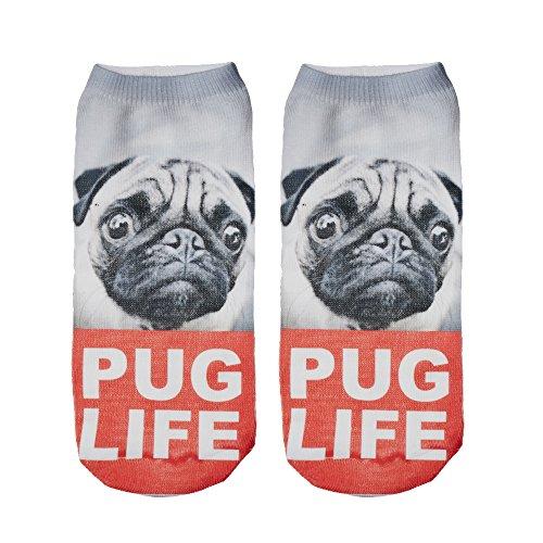 Women's Men's Girls Boys Socks Full Print Low Ankle Pug Dog Jogging Running Fitness Gym Sport Yoga Summer Funky Animal 3D Fashion Socks (UK 3-6, PUG LIFE)