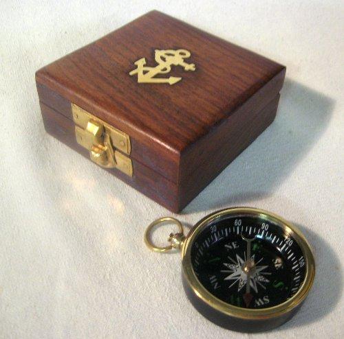 magicaldeco Edler Kompass Ø 4,5 cm in Holzschatulle mit Deckel- Ankermotiv 7,5 cm
